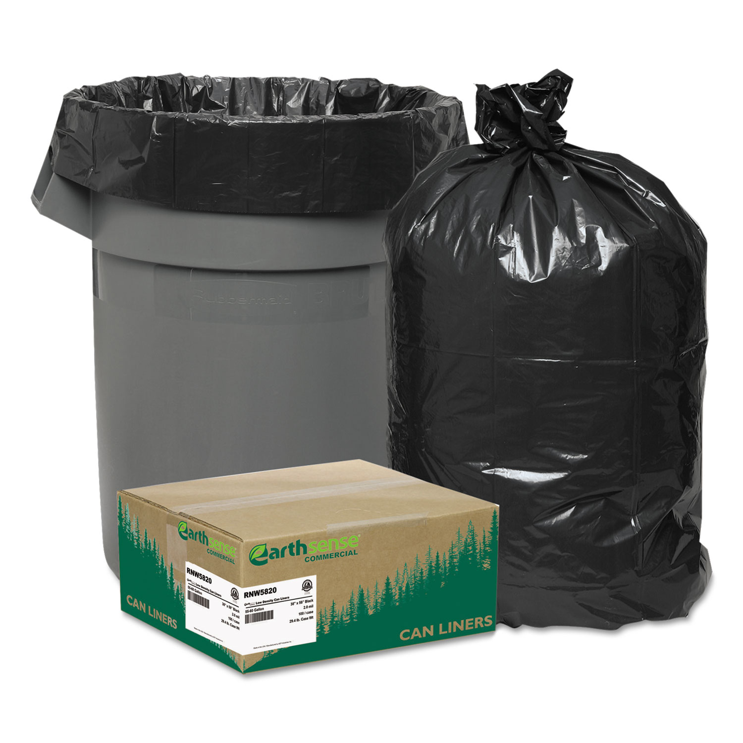 """Linear Low Density Recycled Can Liners, 60 gal, 2 mil, 38"""" x 58"""", Black, 100/Carton"""