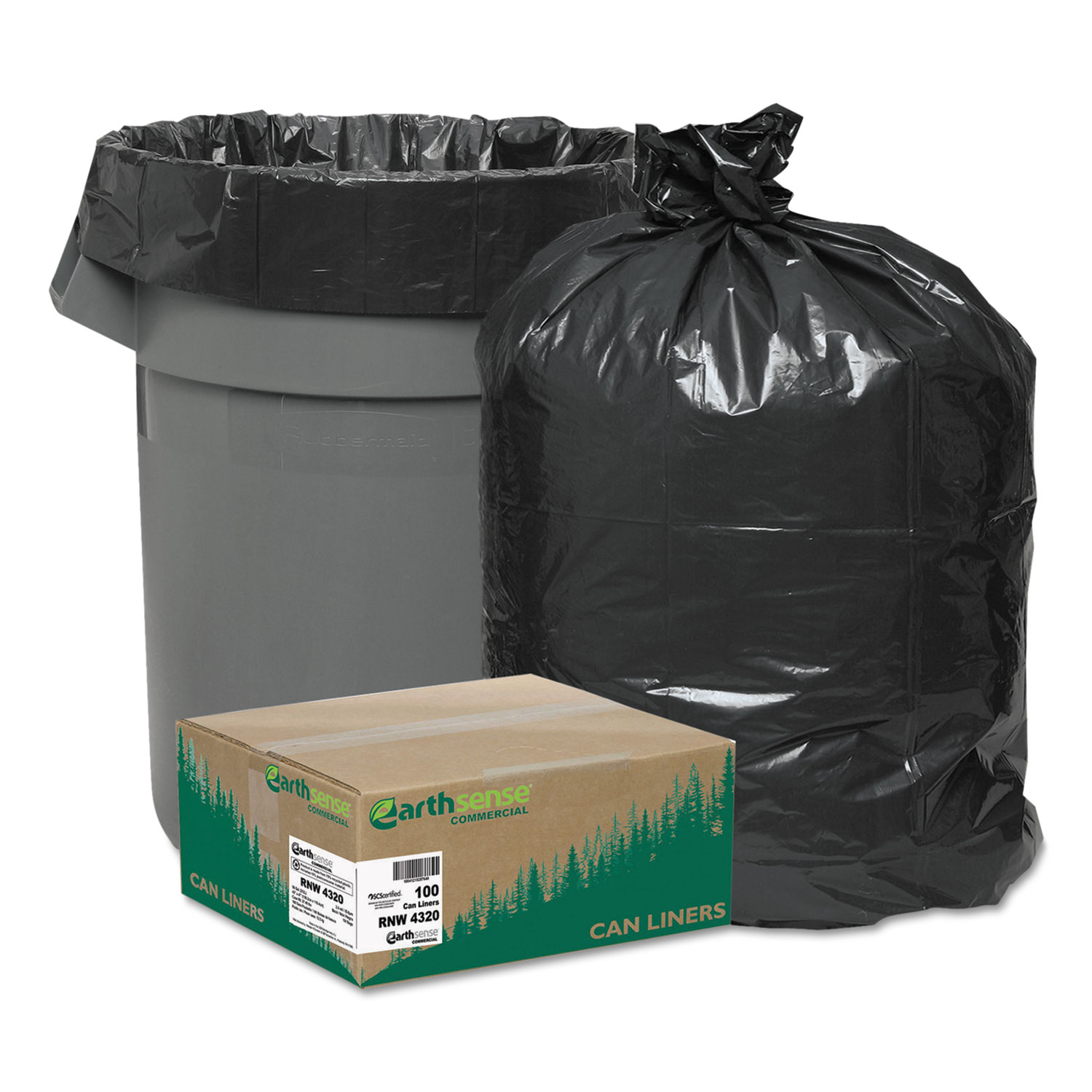 """Linear Low Density Recycled Can Liners, 56 gal, 2 mil, 43"""" x 47"""", Black, 100/Carton"""
