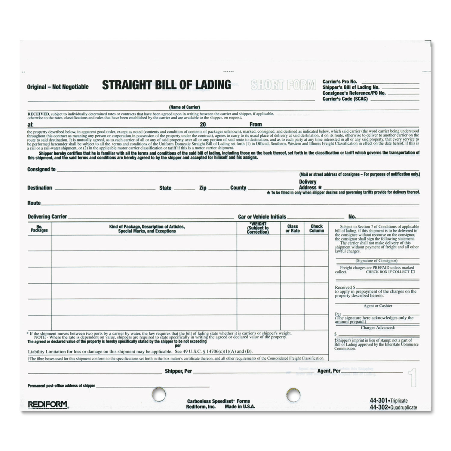 Doc464600 Blank Bill of Lading Short Form Bill of lading – Blank Bill of Lading Short Form