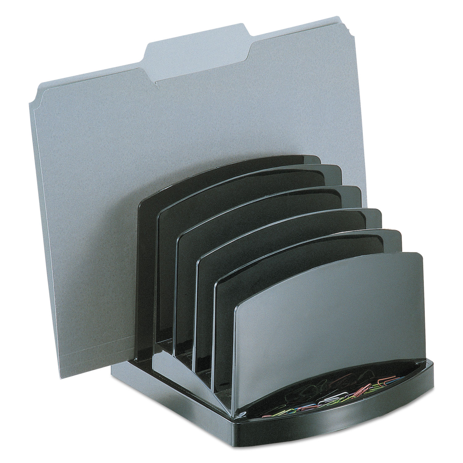 """Incline Sorter, 6 Sections, Letter to Legal Size Files, 7.5"""" x 7.5"""" x 6.4"""", Black"""