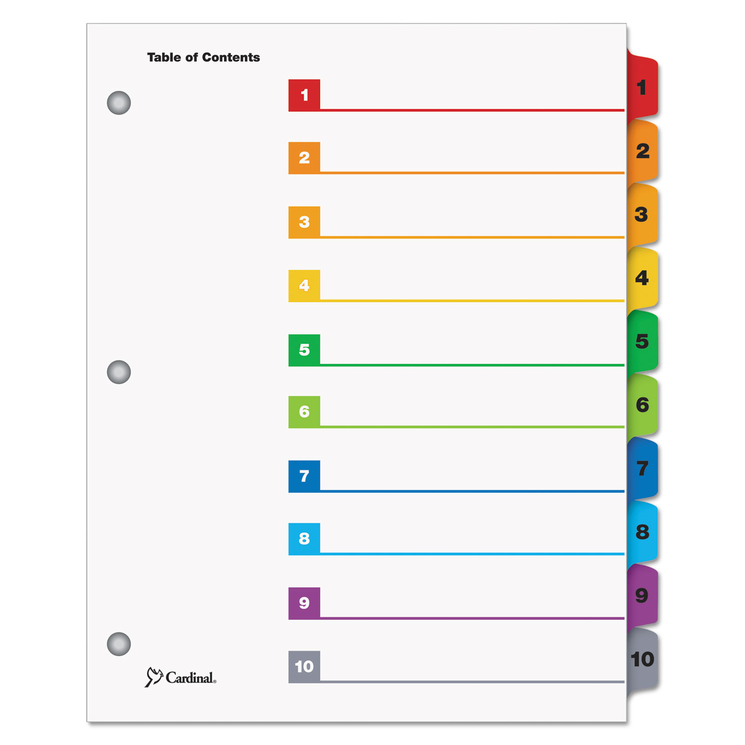 QuickStep OneStep Printable Table of Contents and Dividers, 10-Tab, 1 to 10, 11 x 8.5, White, 24 Sets