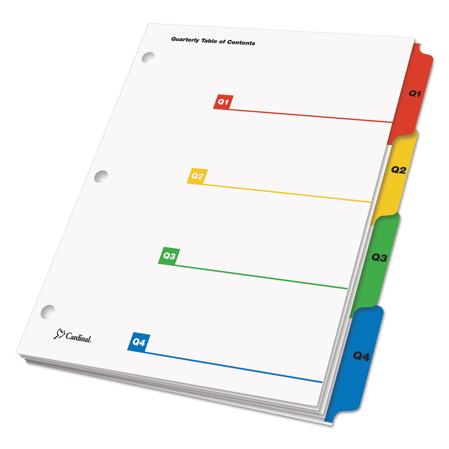 picture relating to Printable Table of Contents titled OneStep Printable Desk of Contents and Dividers - Double Column, 4-Tab, Quarterly, 11 x 8.5, White, 1 Fastened