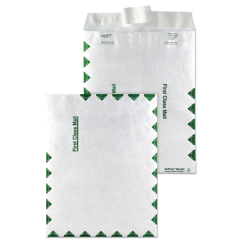 Catalog Mailers, DuPont Tyvek, #10 1/2, Cheese Blade Flap, Redi-Strip Closure, 9 x 12, White, 100/Box