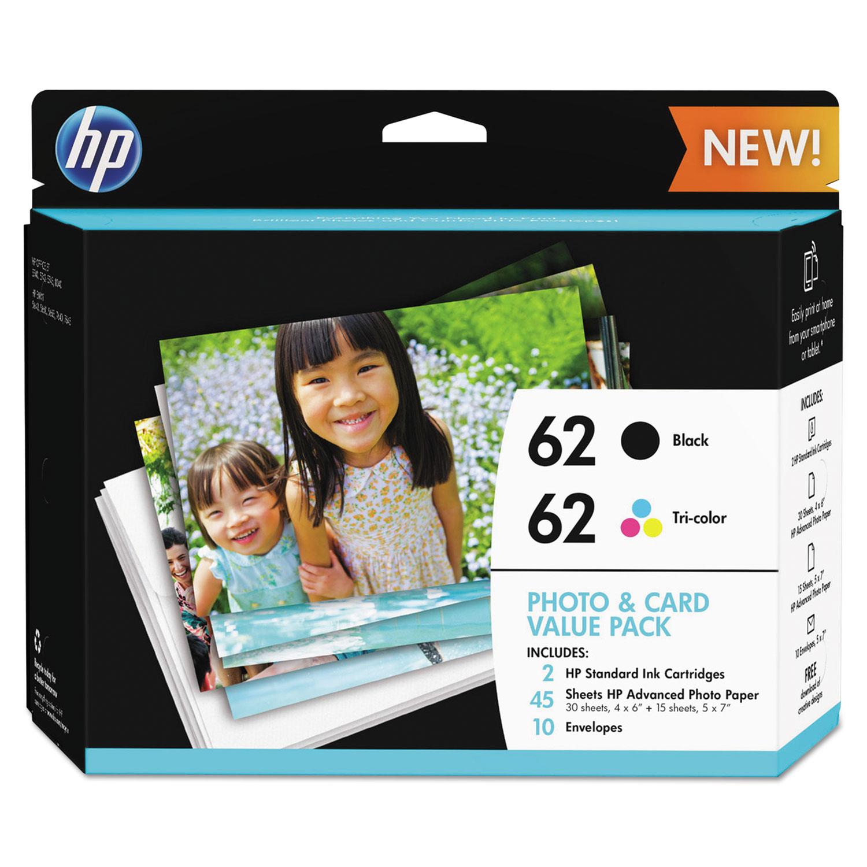 HP 62 (K3W67AN) Black/Tri-Color Original Ink w/Photo Paper,30;4 x 6;15;5 x 7