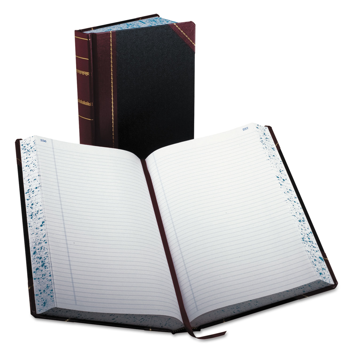 Record/Account Book, Record Rule, Black/Red, 500 Pages, 14 1/8 x 8 5/8