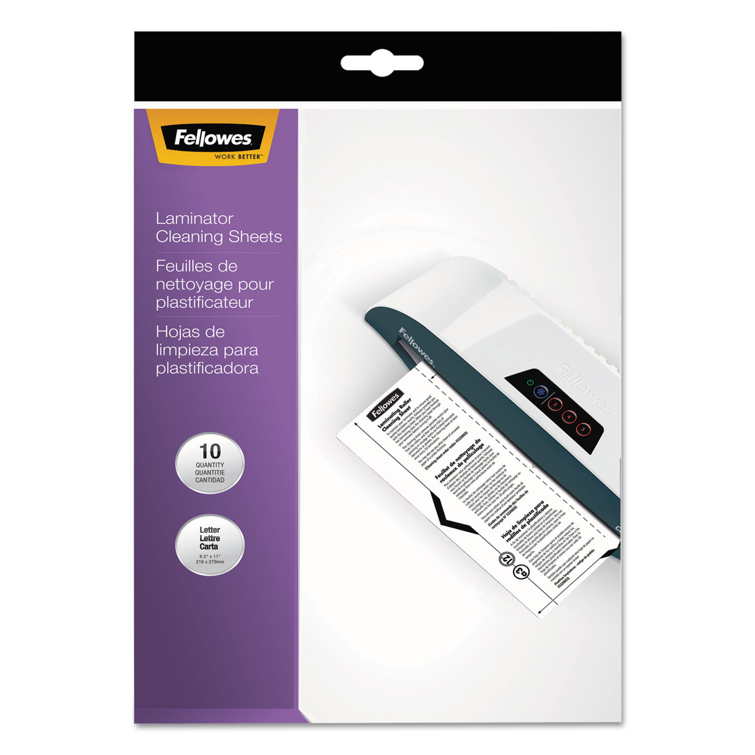 """Laminator Cleaning Sheets, 3 to 10 mil, 8.5"""" x 11"""", White, 10/Pack"""