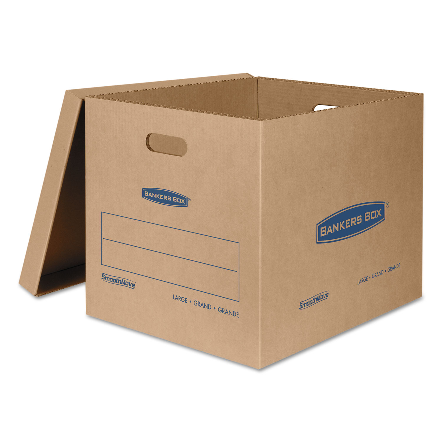 """SmoothMove Classic Moving & Storage Boxes, Large, Half Slotted Container (HSC), 21"""" x 17"""" x 17"""", Brown Kraft/Blue, 5/Carton"""