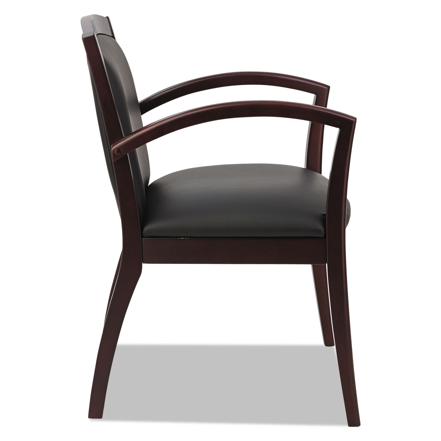 Alera Reception Lounge 500 Series Arch Solid Wood Chair, Mahogany/Black  Leather