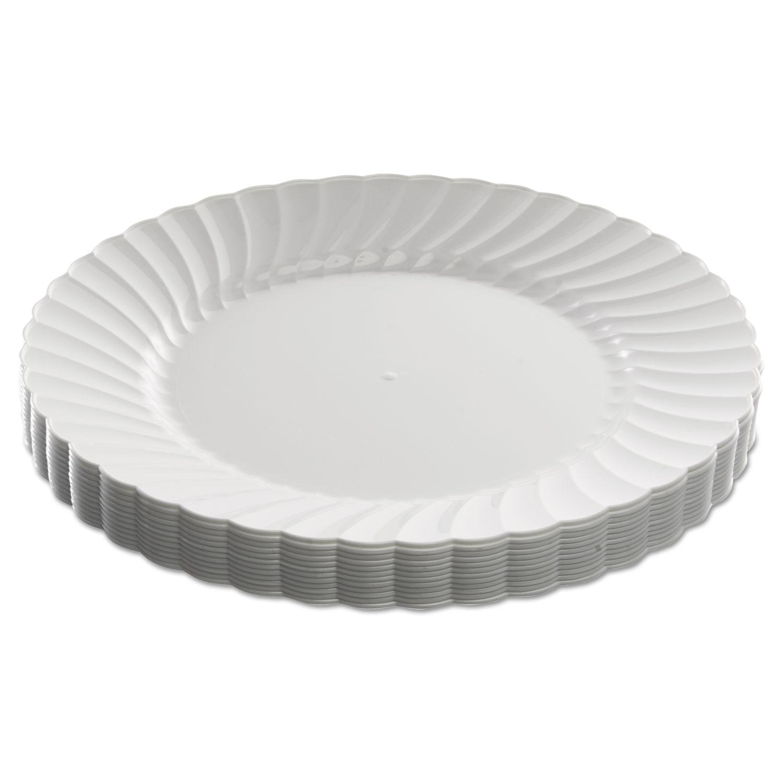 Clicware Plastic Dinnerware Plates 9 Dia White 12 Pack Wnarscw91512wpk