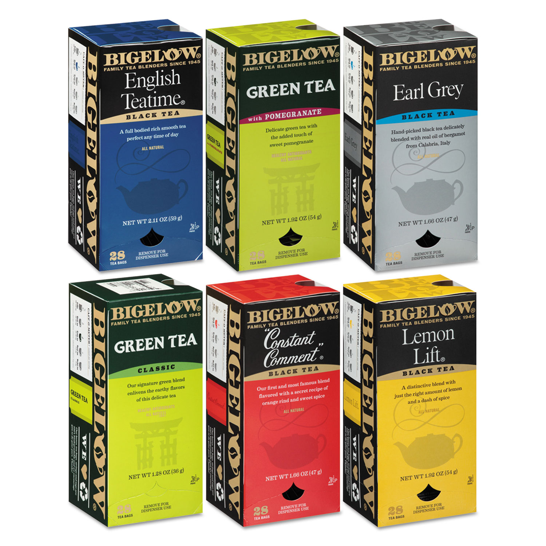Assorted Tea Packs, Six Flavors, 28/Box, 168/Carton