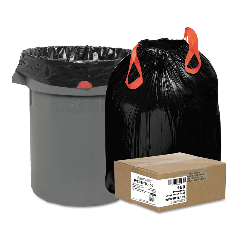"Heavy-Duty Trash Bags, 33 gal, 1.2 mil, 33.5"" x 38"", Black, 150/Box"