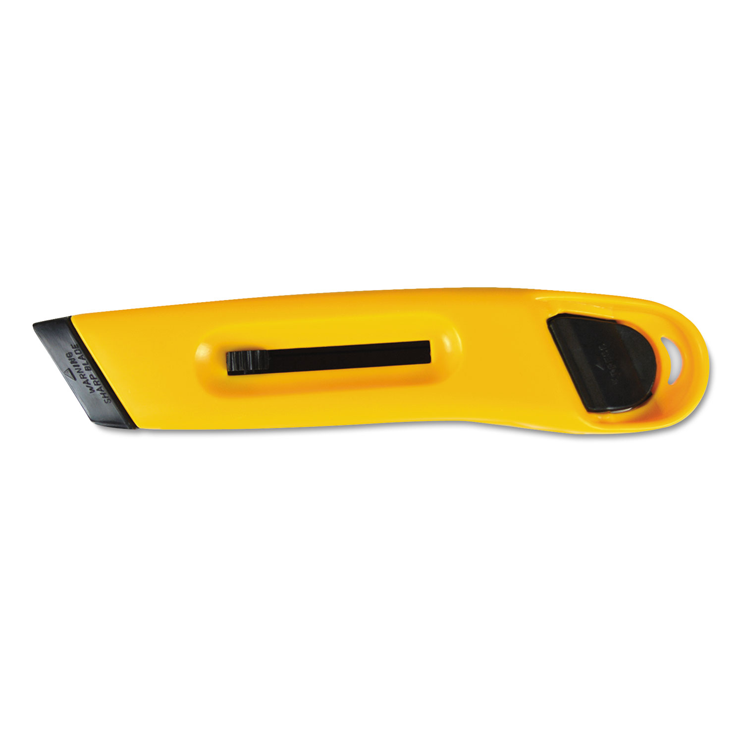 Plastic Utility Knife w/Retractable Blade & Snap Closure, Yellow