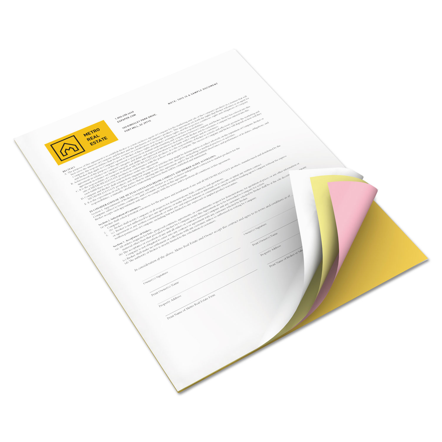 Vitality Multipurpose Carbonless 4-Part Paper, 8.5 X 11, Canary/Goldenrod/Pink/White, 5, 000/Carton