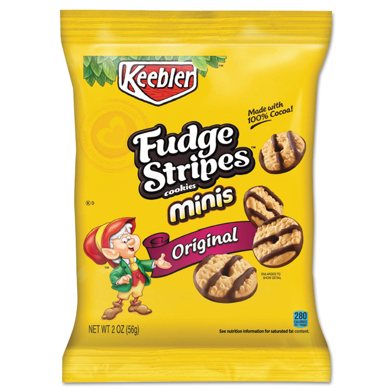 Mini Cookies, Fudge Stripes, 2 oz Snack Pack, 8/Box