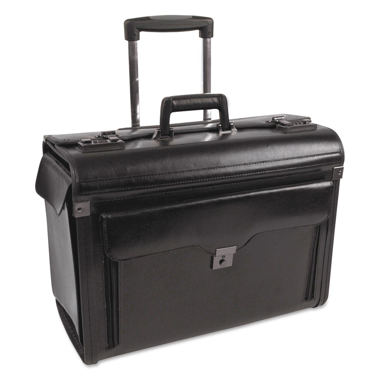 Catalog Case on Wheels, Leather, 19 x 9 x 15-1/2, Black