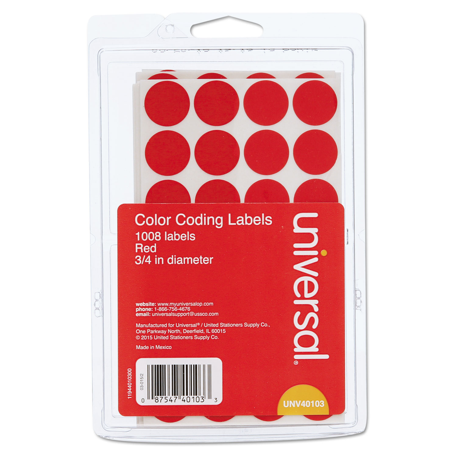 """Self-Adhesive Removable Color-Coding Labels, 0.75"""" dia., Red, 28/Sheet, 36 Sheets/Pack"""