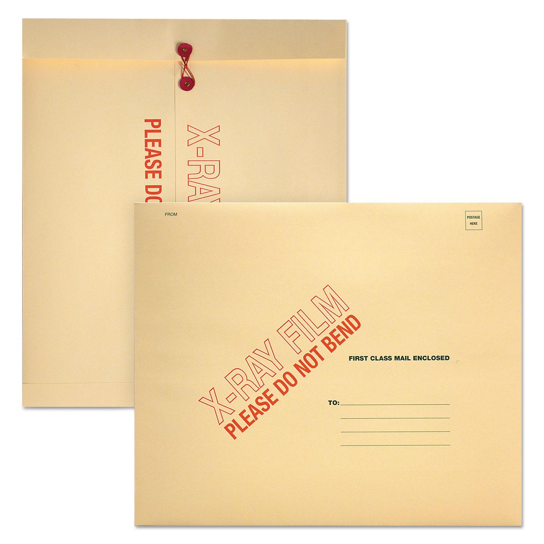 X-Ray Film Mailer, Square Flap, String & Button Closure, 18 x 15, Manila, 100/Carton