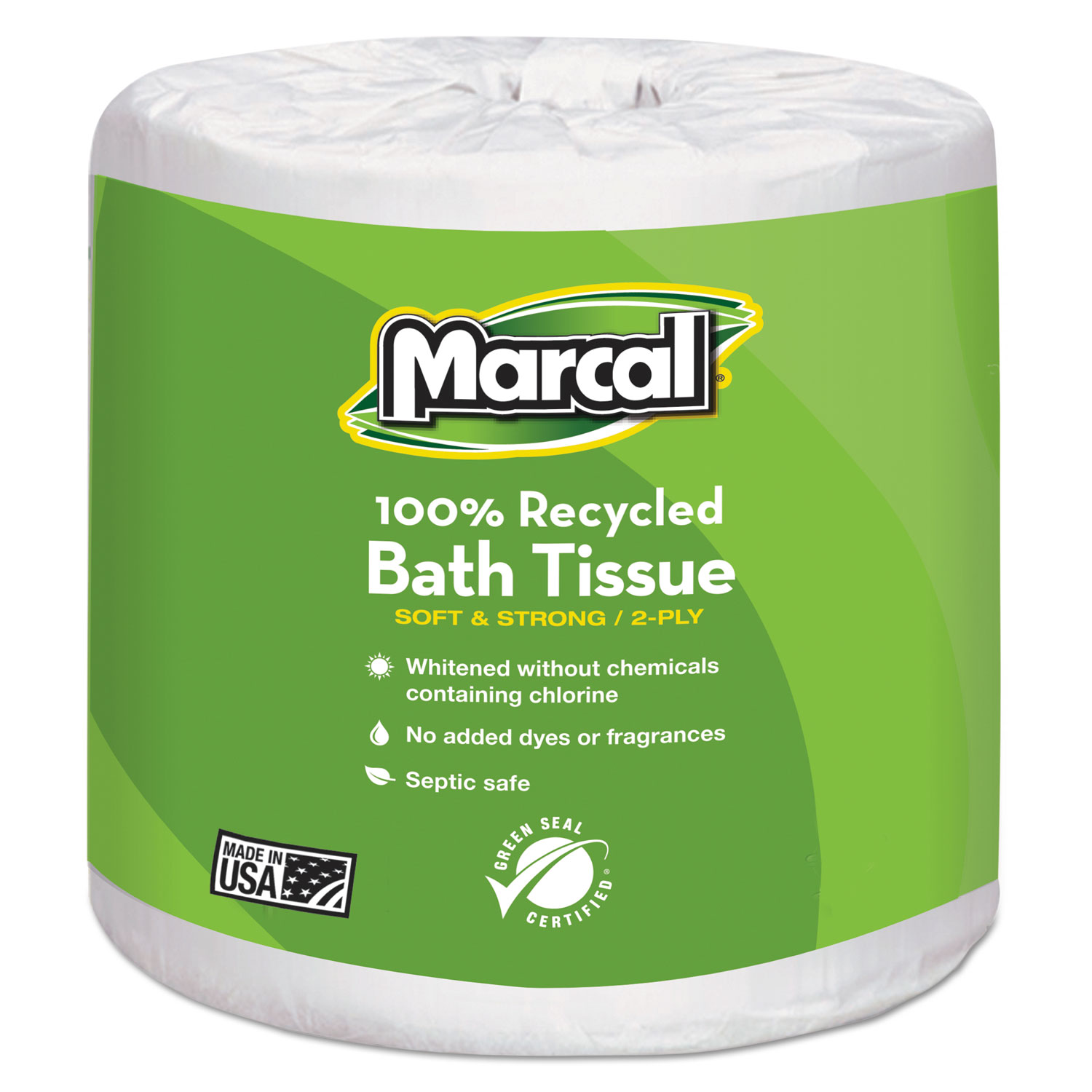 100% Recycled Two-Ply Bath Tissue, Septic Safe, White, 330 Sheets/Roll, 48 Rolls/Carton