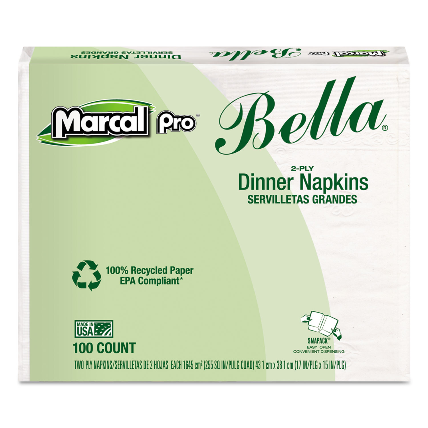 100% Premium Recycled Bella Dinner Napkins, 15 x 17, White, 3000/Carton MRC06410