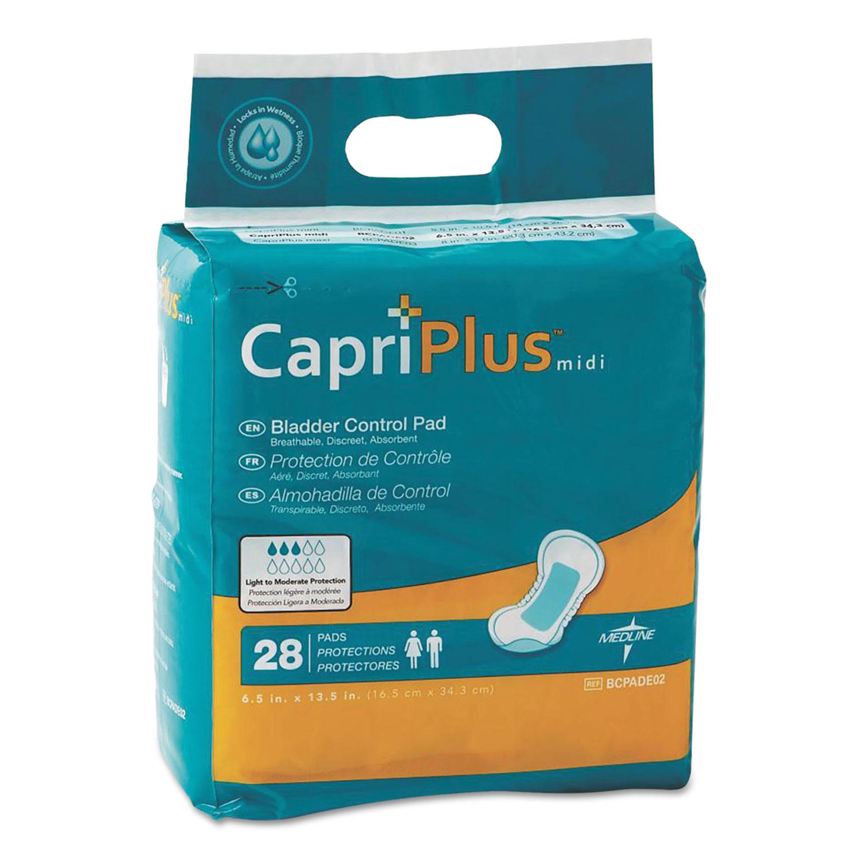 """Capri Plus Bladder Control Pads, Extra Plus, 6.5"""" x 13.5"""", 28/Pack"""