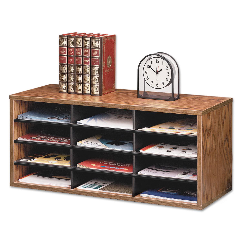 Particle Board Desktop Sorter, 12 Section, 29 x 11 7/8 x 12 15/16, Medium Oak