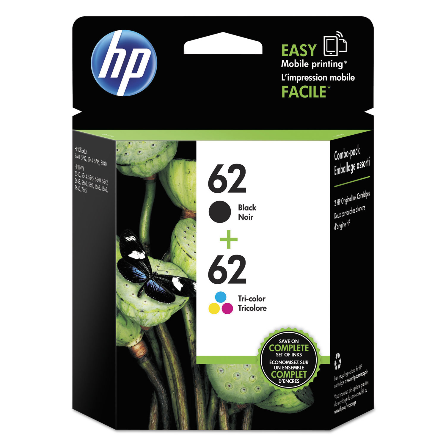 HP 62, N9H64FN 2-pack Black/Tri-Color Original Ink Cartridges