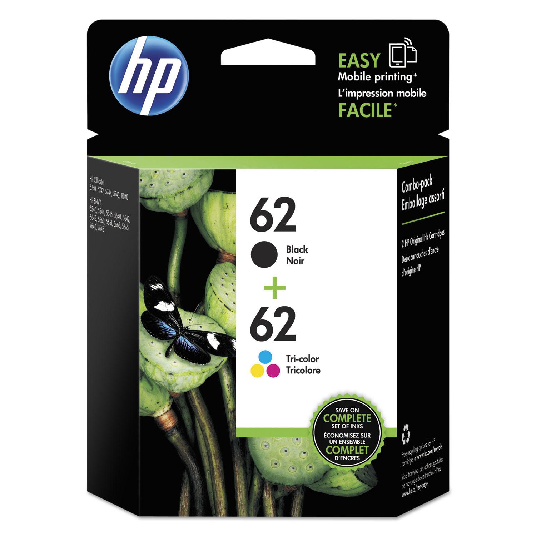 HP 62, N9H64FN 2-pack Black/Tri-Color Original Ink Cartridges