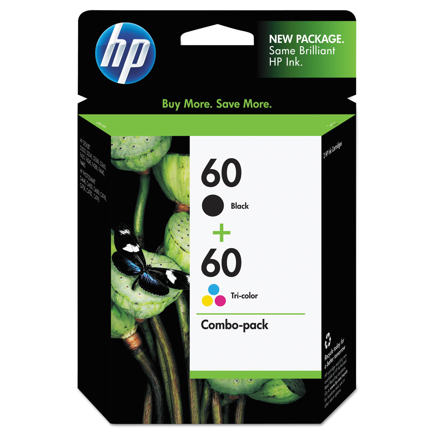 HP 60, N9H63FN 2-pack Black/Tri-Color Original Ink Cartridges