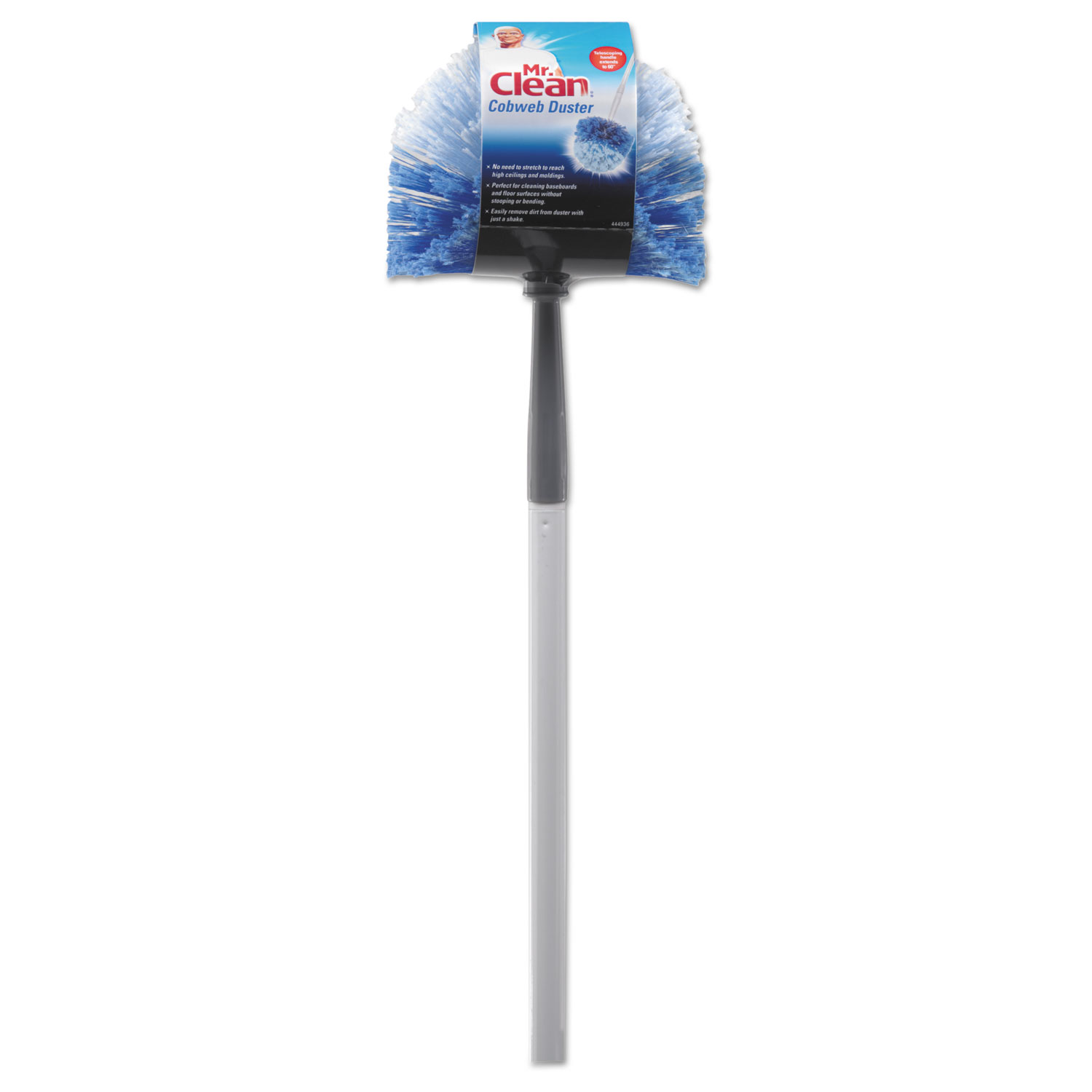 "Telescopic Cobweb Duster, Blue/White, 11"" Brush, 60"" Handle"