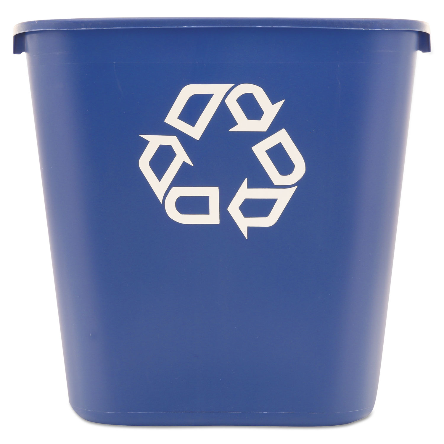 Medium Deskside Recycling Container, Rectangular, Plastic, 28.13 qt, Blue