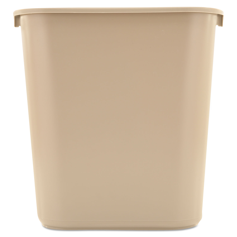 Deskside Plastic Wastebasket, Rectangular, 7 gal, Beige