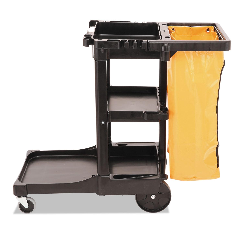 Rubbermaid Commercial Multi Shelf Cleaning Cart Three Shelf 20w X 45d X Black