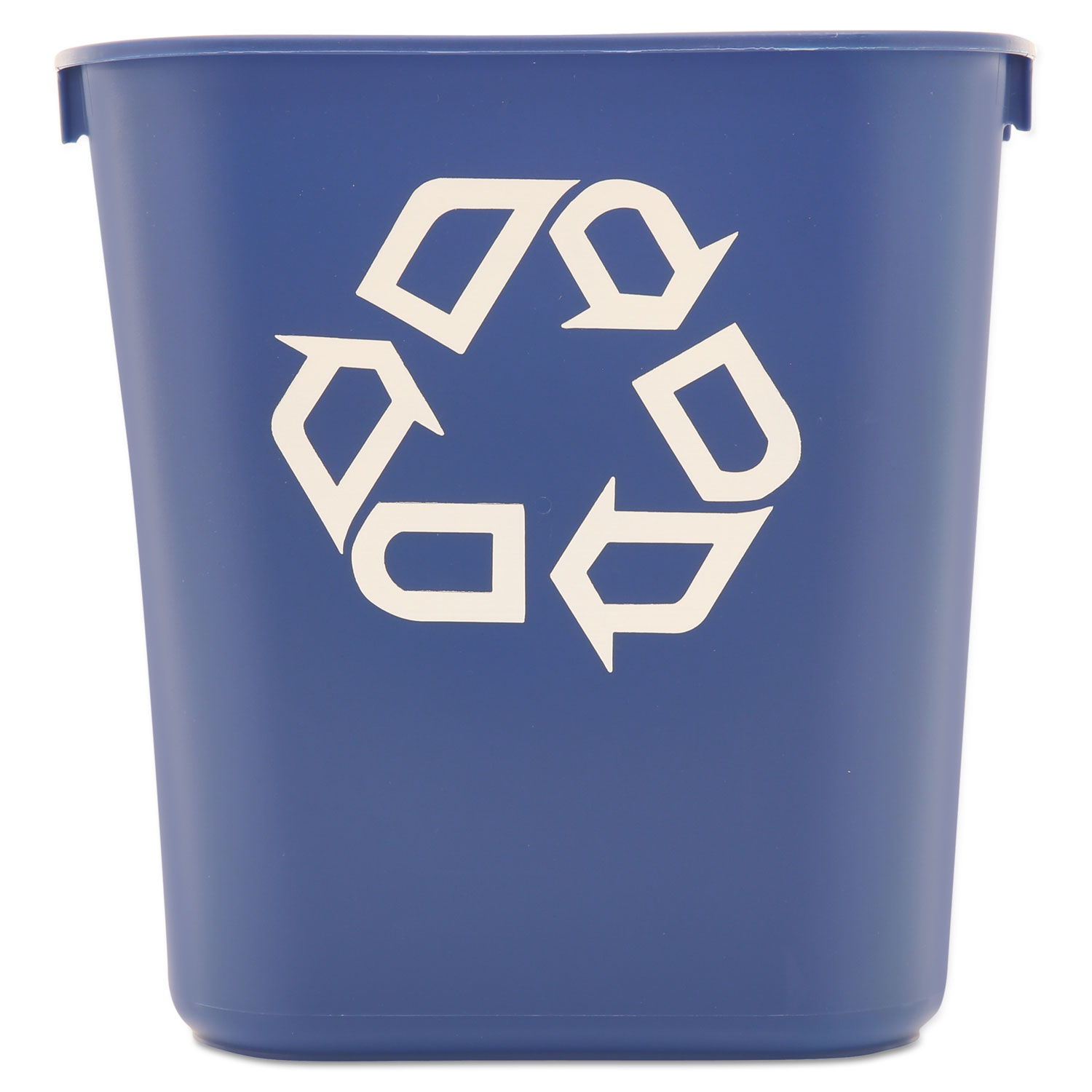 Small Deskside Recycling Container, Rectangular, Plastic, 13.63 qt, Blue