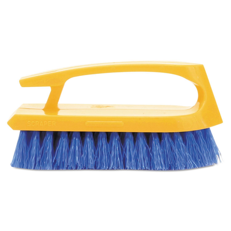 "Long Handle Scrub Brush, 6"" Brush, Yellow Plastic Handle/Blue Bristles"