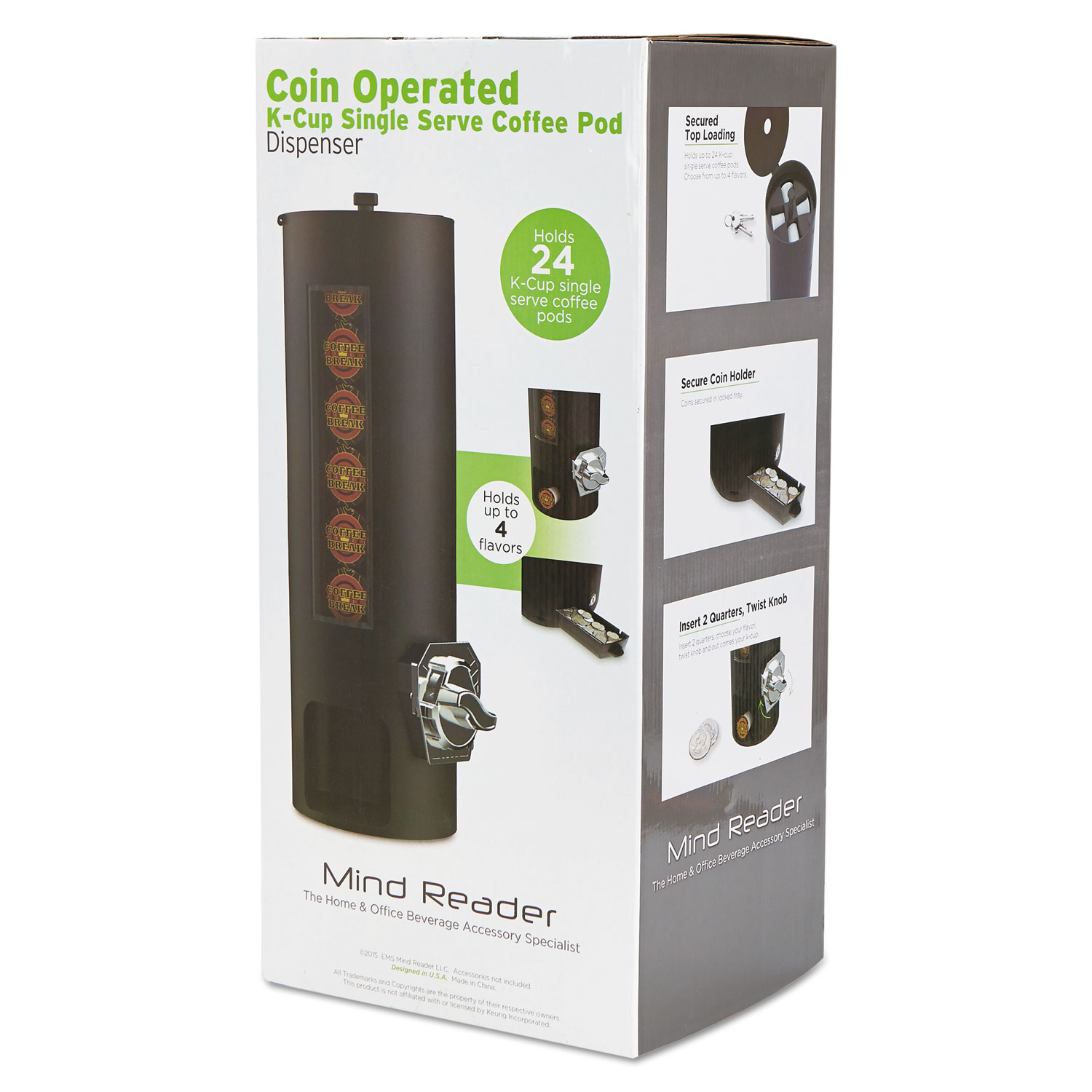 Coin Operated Coffee Pod Dispenser By Mind Reader Emscomdps01blk Ontimesupplies Com