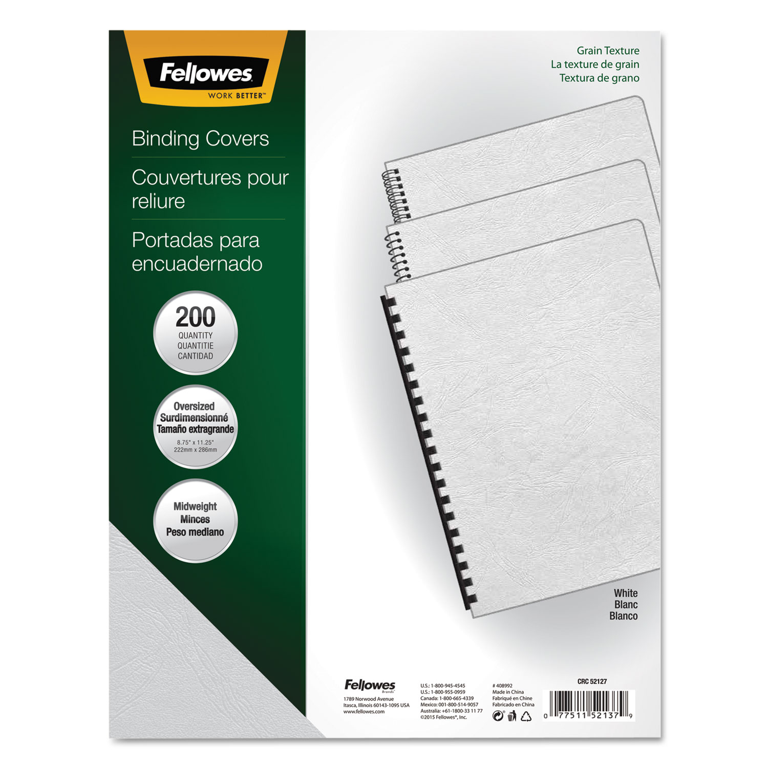 Classic Grain Texture Binding System Covers by Fellowes® FEL52137 ...