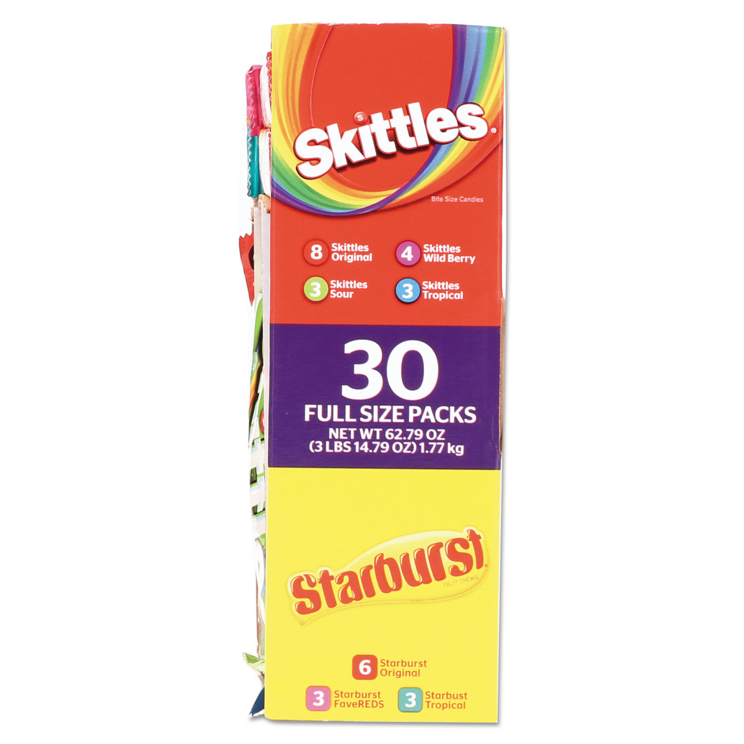 Skittles & Starburst Fruity Candy Variety Box, Assorted, 30 Single Packs