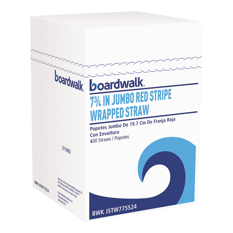 "Wrapped Jumbo Straws, 7 3/4"", Plastic, Red w/White Stripe, 400/Pack"