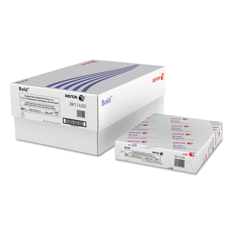 Bold Coated Gloss Digital Printing Paper, 94 Bright, 80lb, 8.5 X 11, 500/Ream