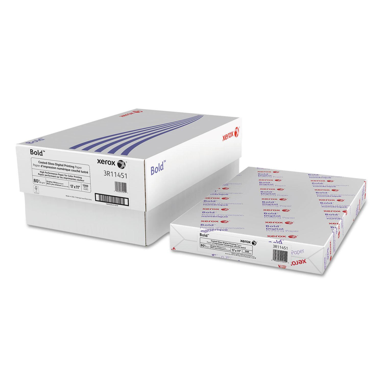 Bold Coated Gloss Digital Printing Paper, 94 Bright, 80lb, 11 X 17, 500/Ream