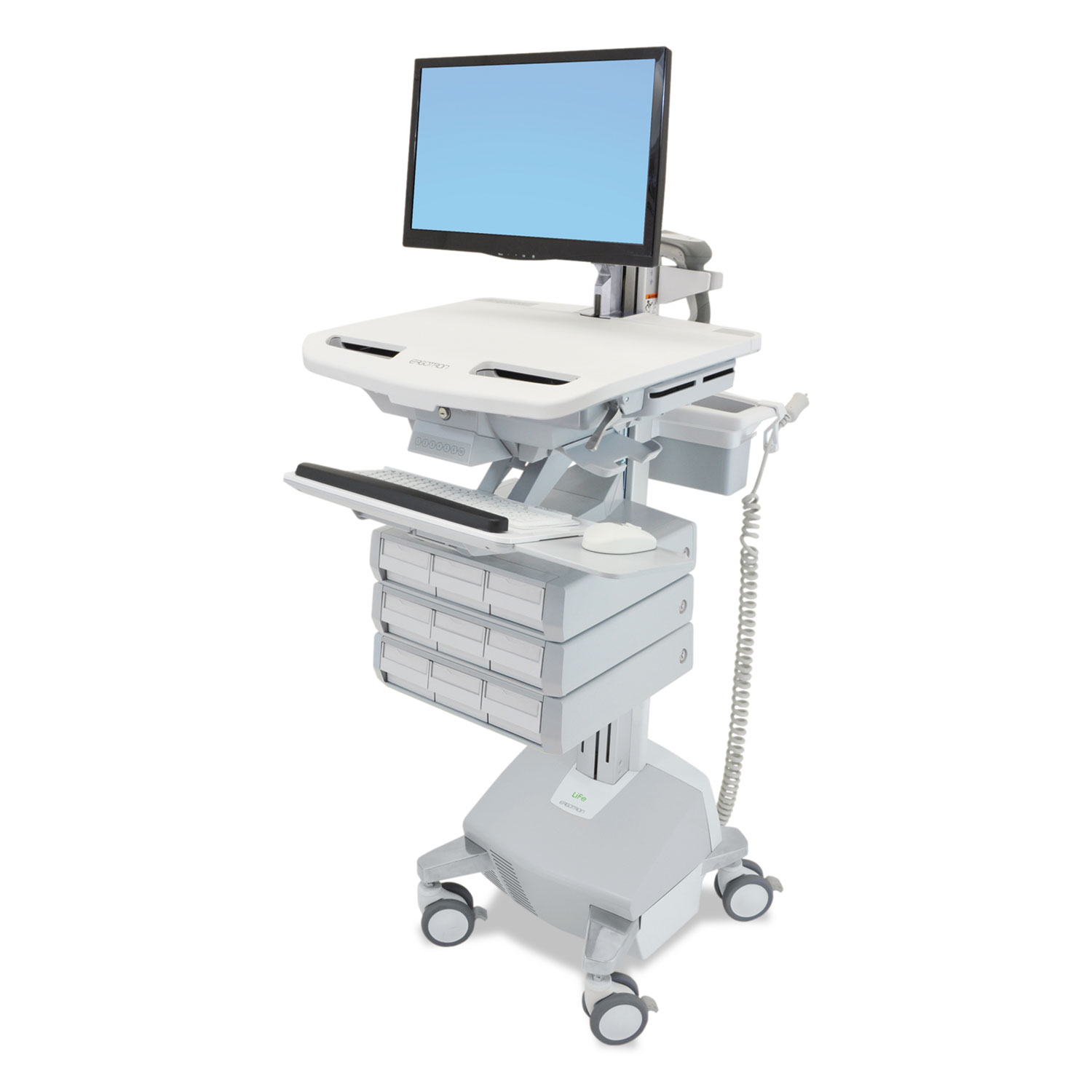Styleview Life Powered Cart W/LCD Arm, 9 Drawer, 22.5 X 31 X 50.5-62, White/Gray