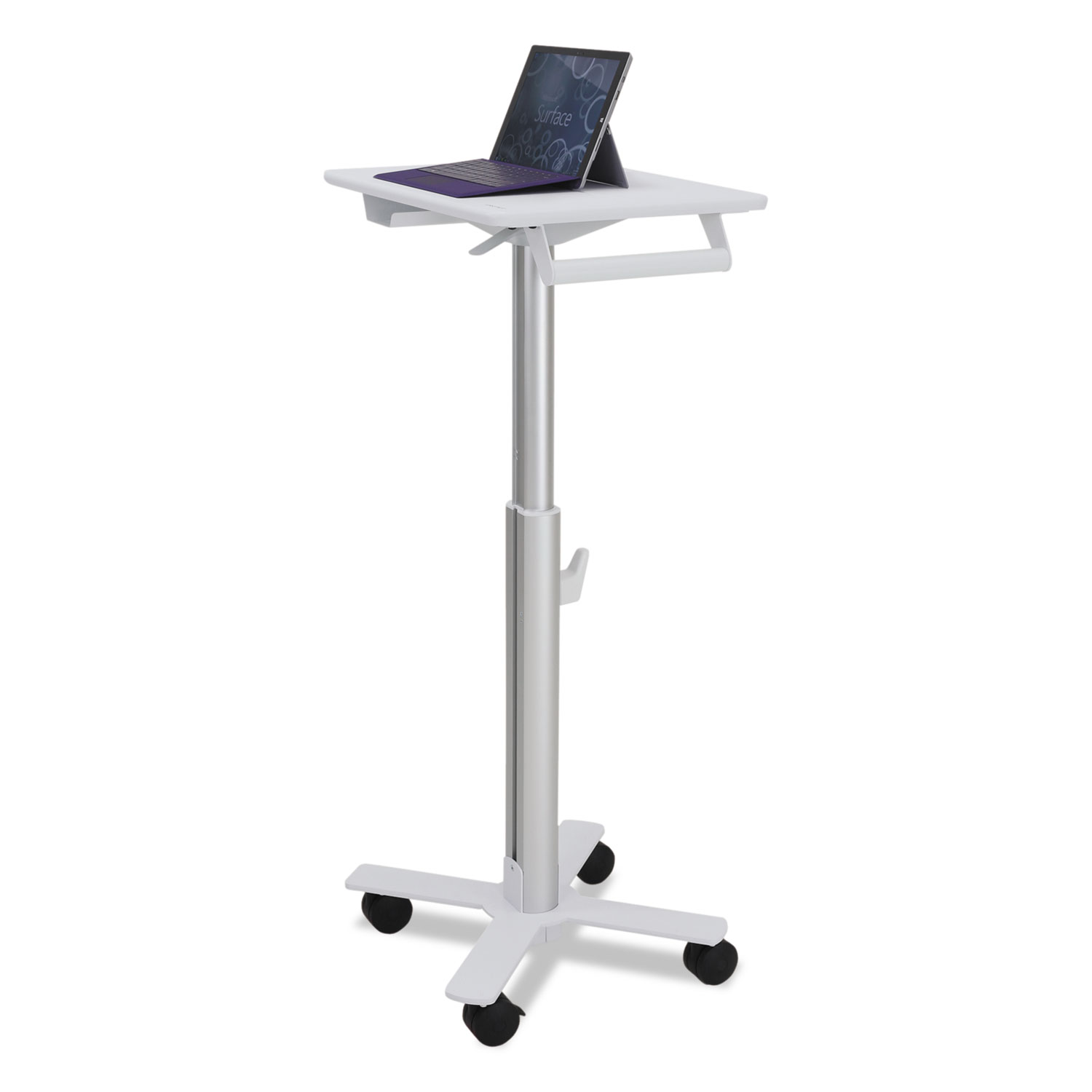StyleView 10 S-Tablet Cart For MS Surface, 23″ X 19″ X 33″ – 48″, White/Aluminum