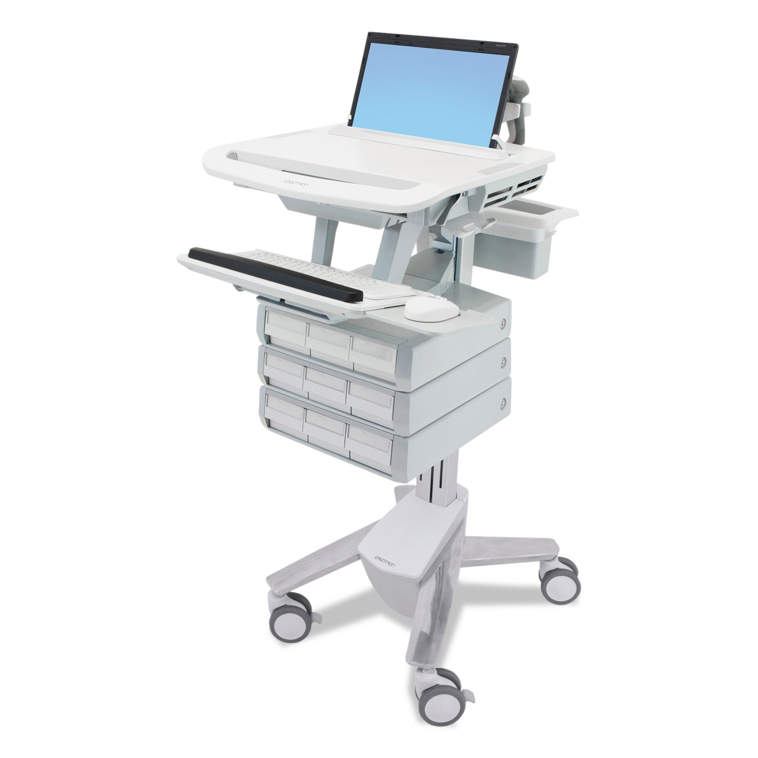 StyleView Laptop Cart, 9 Drawers, 22 X 31 X 50 1/2 To 51, White/Gray