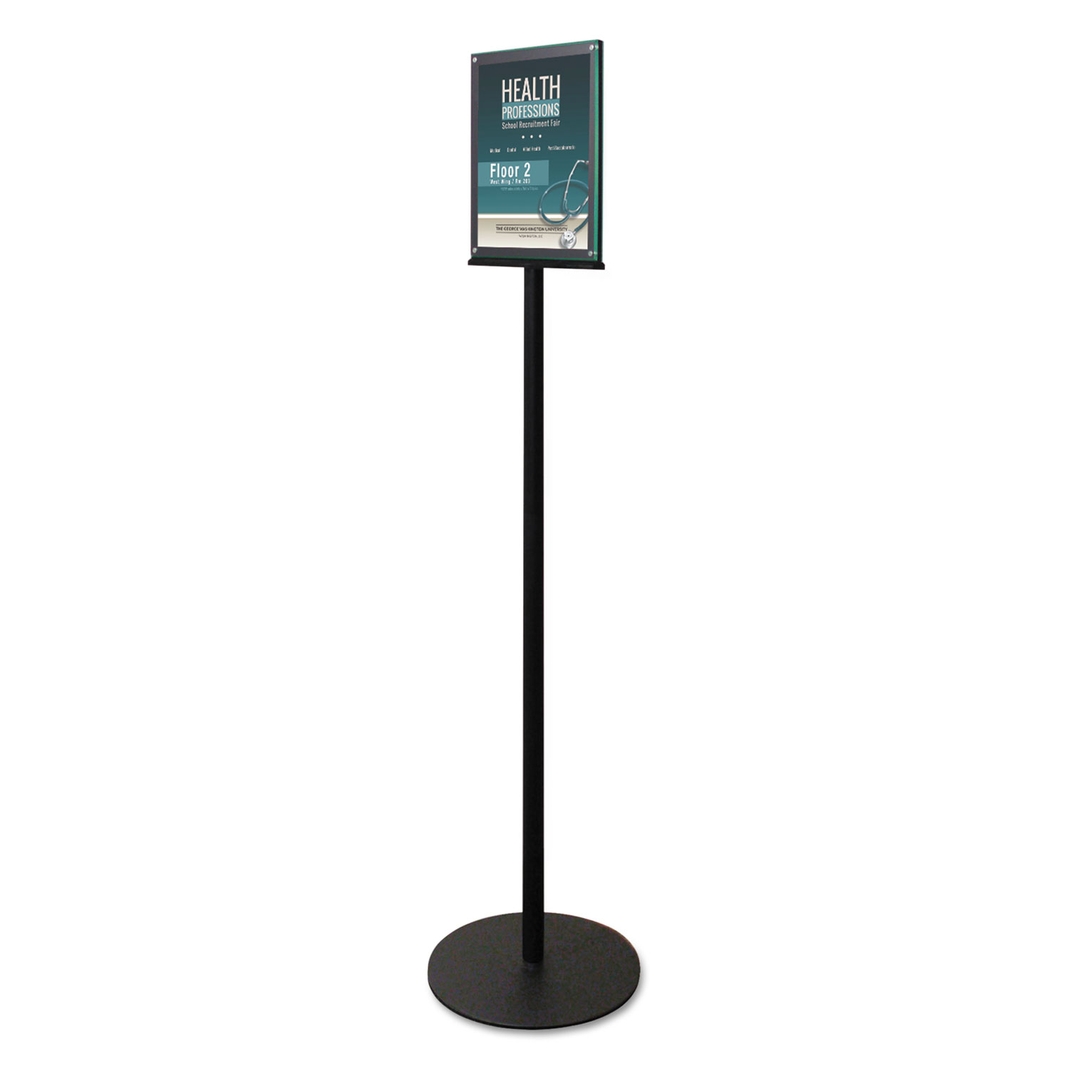 """Double-Sided Magnetic Sign Display, 8 1/2 x 11 Insert, 56"""" Tall, Clear/Black"""