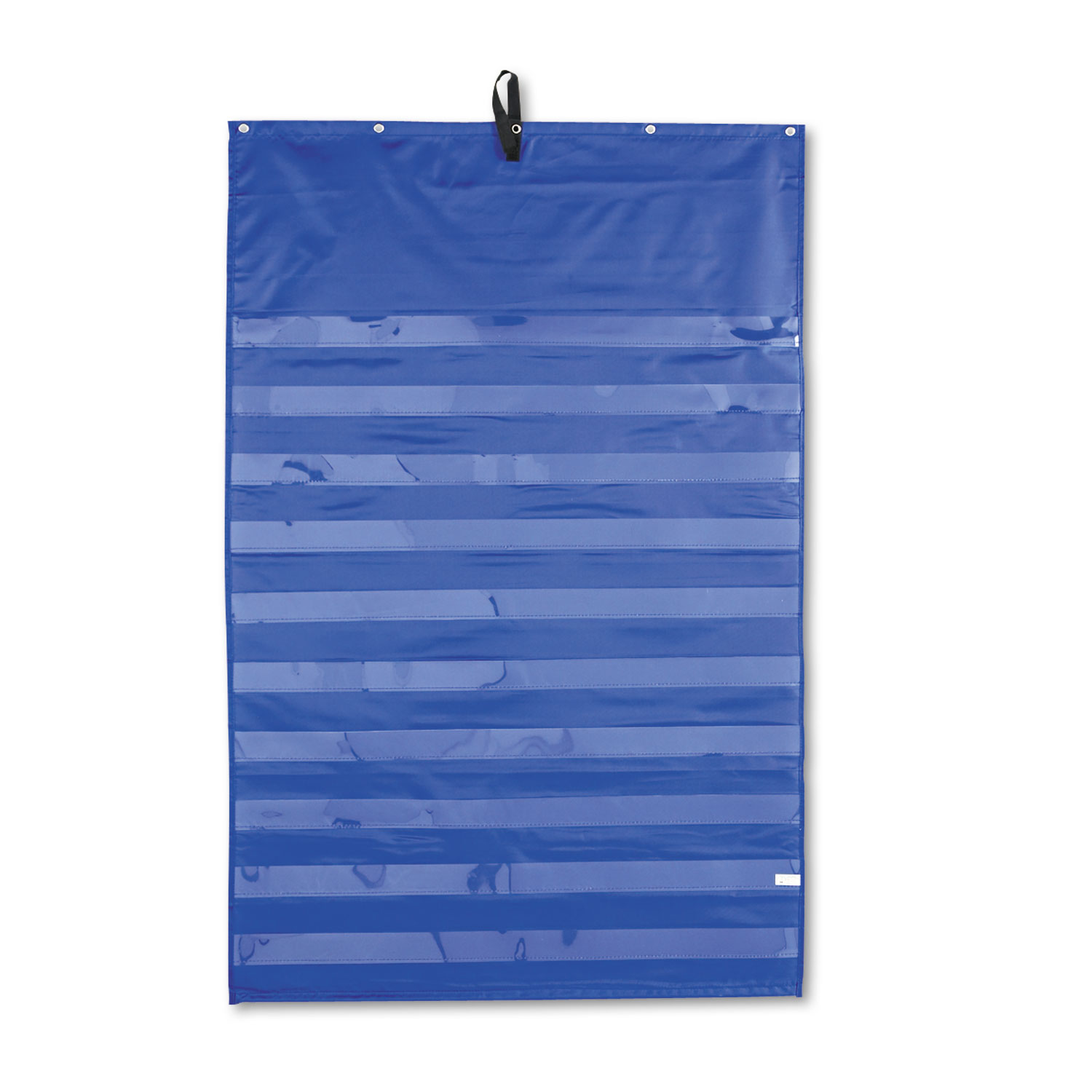 Essential Pocket Chart, Ten Clear and One Storage Pocket, Grommets, Blue, 31 x 42
