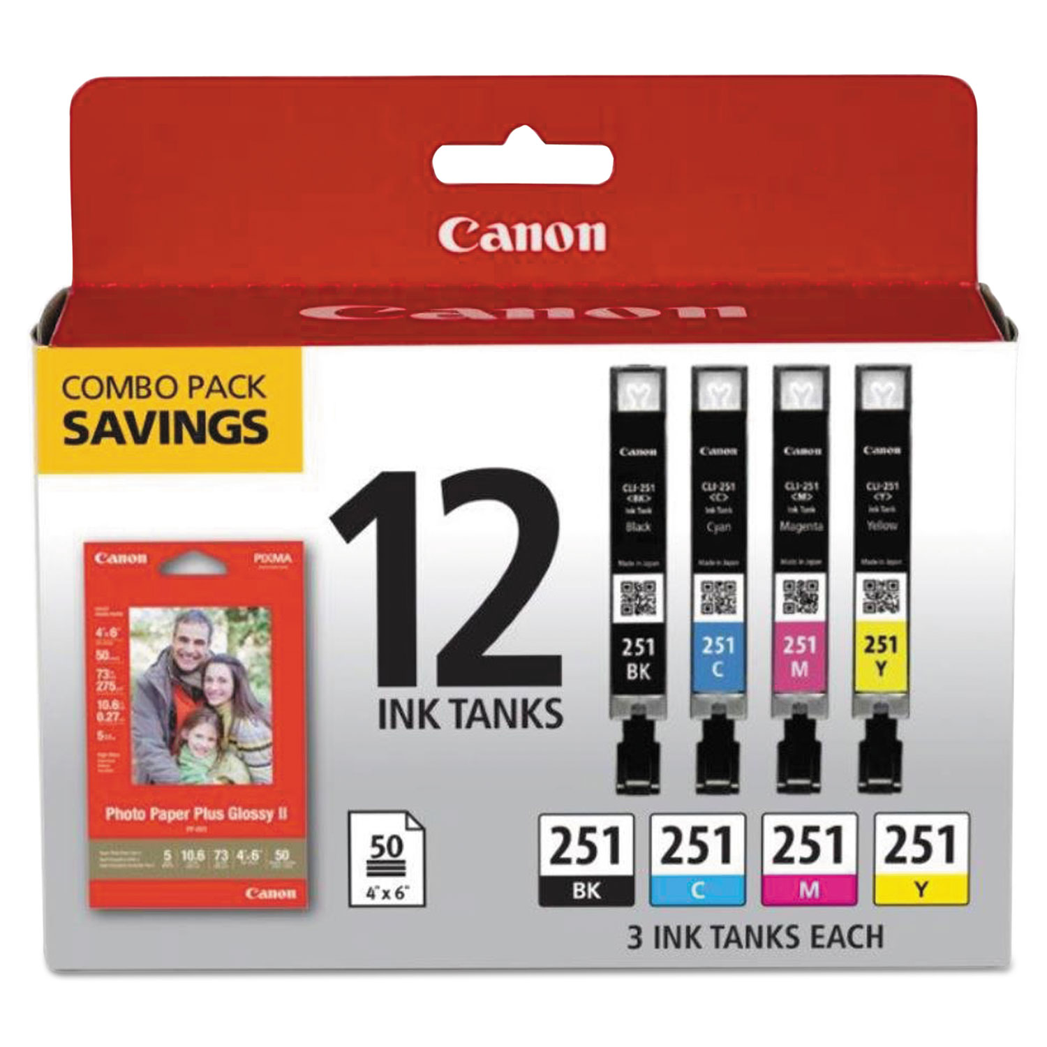 6513B010 (CLI-251) Ink & Paper Combo Pack, Black/Cyan/Magenta/Yellow