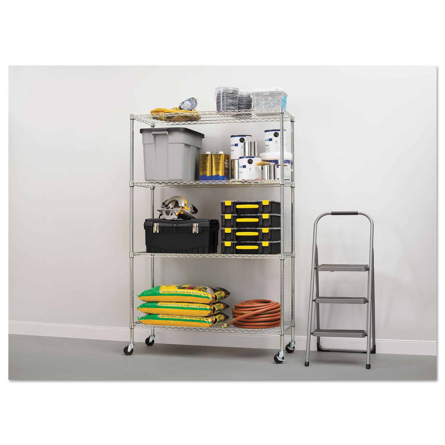 Complete Wire Shelving Unit w/Caster by Alera® ALESW604818SR ...