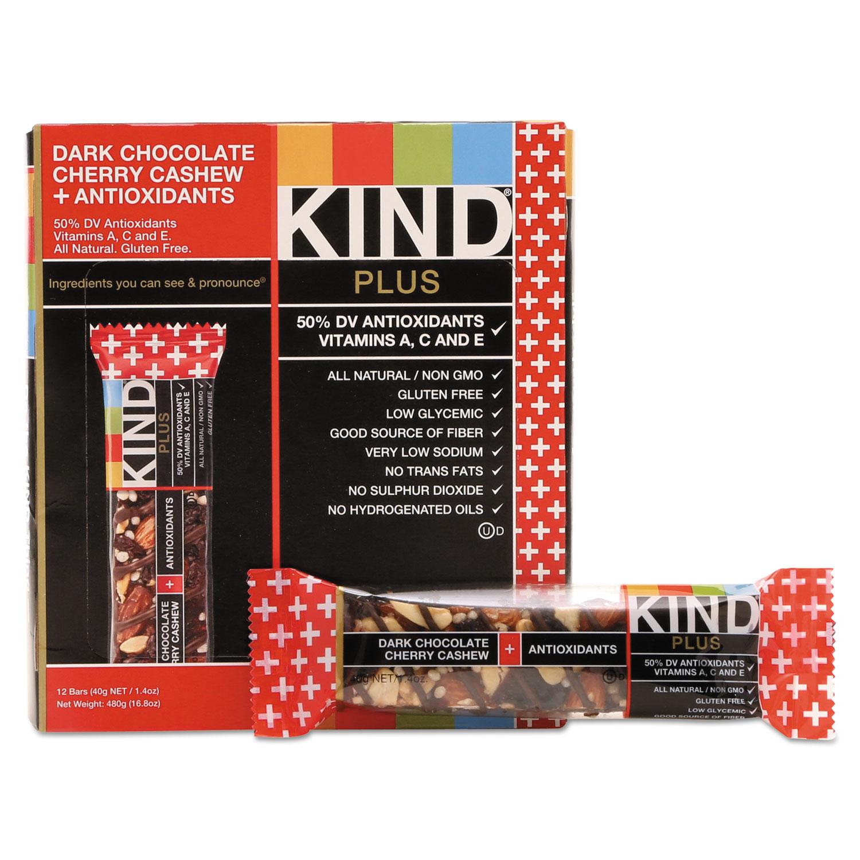 Plus Nutrition Boost Bar, Dk ChocolateCherryCashew/Antioxidants, 1.4 oz, 12/Box