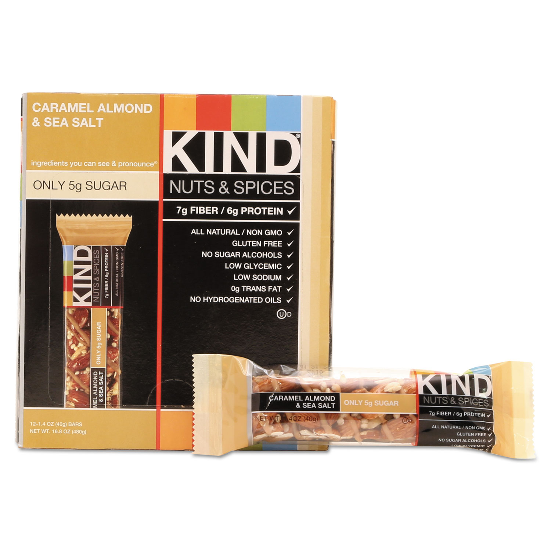 Nuts and Spices Bar, Caramel Almond and Sea Salt, 1.4 oz Bar, 12/Box