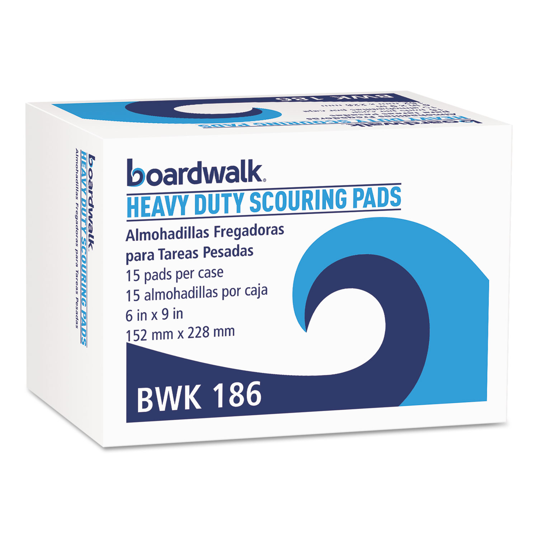 Heavy-Duty Scour Pad, Green, 6 x 9, 15/Carton